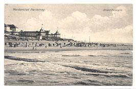 Alte Postkarte STRANDBAD NORDERNEY Strand-Panorama - 1901