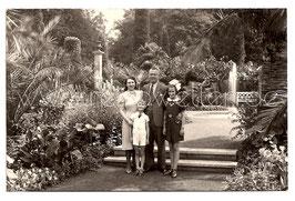 Alte Fotografie Postkarte ELEGANTE FAMILIE IM PALMENGARTEN VON BAD PYRMONT, 1941