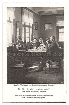 Alte Fotografie Postkarte IN DER HEIDESCHENKE Männer bei Kaffee und Kuchen