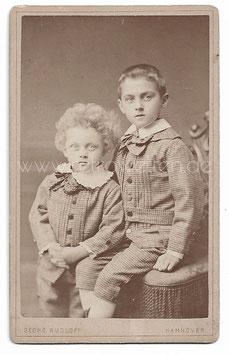 Alte CDV Fotografie HANNOVER - 2 ELEGANTE BRÜDER, Kindermode um 1890