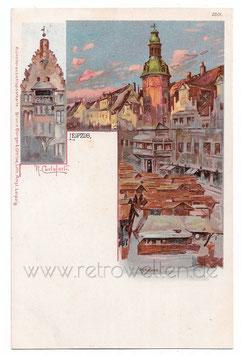 Alte Künstler Postkarte LEIPZIG Rathaus, signiert R. Carloforti