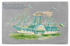 Alte Präge-Postkarte DAMPFER MIT VERGISSMEINNICHT 1907