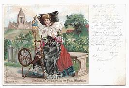 Alte Lithografie Postkarte TRACHTEN AUS DER UMGEGEND DER PORTA WESTFALICA, Frau in westfälischer Tracht am Spinnrad, 1901