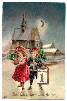 """Alte Lithografie Postkarte Neujahr """"VIEL GLÜCK IM NEUEN JAHRE"""" Kinder, Kalenderblatt, Glücksklee, Kirche, 1910"""