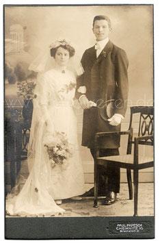 Alte Kabinett Fotografie HOCHZEIT elegantes Brautpaar aus Chemnitz, um 1900