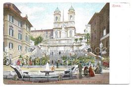 Alte Postkarte ROMA - Chiesa della Trinitá dei Monti con la Scalinata (Spanische Treppe) um 1910