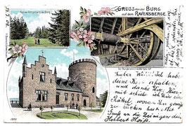 Alte Lithografie Postkarte BORGHOLZHAUSEN - GRUSS VON DER BURG AUF DEM RAVENSBERGE Aus der Umgebung der Burg, der Burgbrunnen, 1902