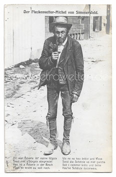 Alte Foto Postkarte ALTER BAUER RAUCHT PFEIFE 1917