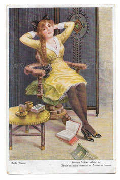 Alte Künstler Postkarte  JUNGE FRAU MIT LANGEM ZOPF RAUCHT EINE ZIGARETTE, signiert Bella Bülow