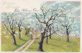 Alte Künstler Postkarte FRÖHLICHE PFINGSTEN Frauen machen einen Spaziergang auf dem Land, signiert Mailick