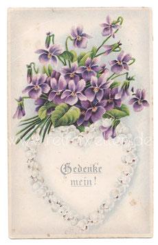 Alte Jugendstil Postkarte  Maiglöckchen Herz & Veilchen