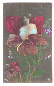 Alte Jugendstil Metamorphose Postkarte  BLUMENFRAU