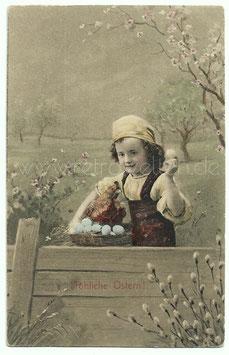 Alte Foto Postkarte OSTERN Kind mit Henne und Ostereiern, 1910