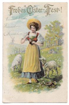 Alte Lithographie Postkarte Ostern FROHES OSTERFEST! schöne Schäferin mit Margeriten, 1902