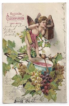 """Alte Lithografie Postkarte Neujahr """"HERZLICHSTEN GLÜCKWUNSCH ZUM NEUEN JAHRE"""" Engel, Telefon, Bowle, Weintrauben, 1905"""