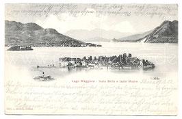 Alte Foto Postkarte LAGO MAGGIORE  ISOLA BELLA E ISOLA MADRE Blick auf den See, Inseln und Berge