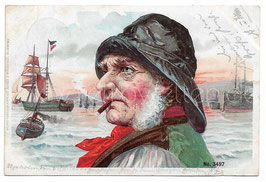 Alte Lithographie Postkarte  ALTER FISCHER AM HAFEN RAUCHT ZIGARRE