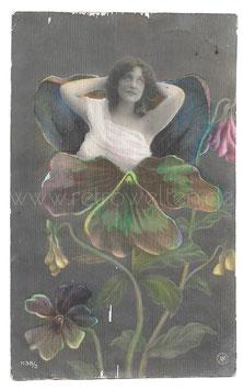 Alte Jugendstil Metamorphose Postkarte  BLUMENFRAU, 1908