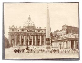 Alte Fotografie ROMA - Vatikanstadt - Petersplatz mit Obelisk und Petersdom 1910