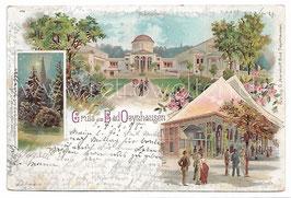 Alte Lithografie Postkarte GRUSS AUS BAD OEYNHAUSEN, Thermalbad, Wandelhalle 1898