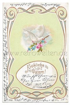 Alte Lithographie Postkarte FRÖHLICHE OSTERN! schöne Schäferin mit Margeriten, 1902