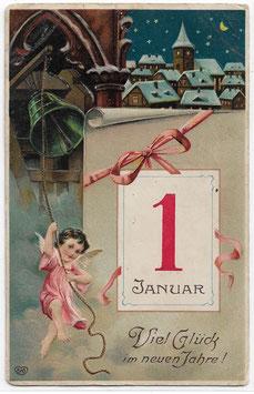 """Alte Lithografie Postkarte Neujahr """"VIEL GLÜCK IM NEUEN JAHRE!"""" Kalenderblatt, Engel läutet Kirchenglocken, 1914"""
