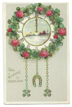 """Alte Jugendstil Postkarte Neujahr """"VIEL GLÜCK IM NEUEN JAHR"""" Uhr, Glücksklee, Hufeisen, 1919"""