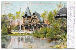 Alte Postkarte AUGSBURG Partie im Stadtgarten, Caféhaus 1905