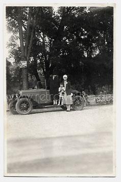 Alte Fotografie FRAUEN UND KIND MIT FIAT CABRIOLET OLDTIMER AUTOMOBIL, Italien  1928