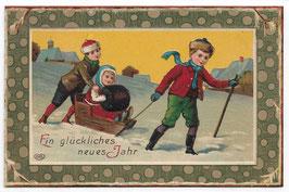 """Alte Lithografie Postkarte Neujahr """"EIN GLÜCKLICHES NEUES JAHR"""" Kinder mit Schlitten"""