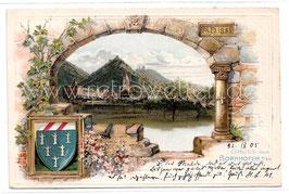 Alte Lithografie Wappen Postkarte GRUSS AUS BORNHOFEN AM RHEIN - 1905