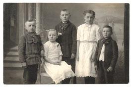 Alte Foto Postkarte 5 GESCHWISTER um 1915