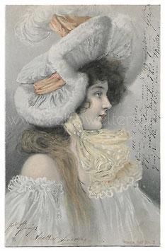 Alte Künstler Postkarte ELEGANTE FRAU MIT GROßEM HUT, 1903