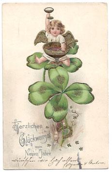 """Alte Lithografie Postkarte Neujahr """"HERZLICHEN GLÜCKWUNSCH ZUM NEUEN JAHRE"""" Engel sitzt auf Glücksklee mit Sektkelch und Bowle"""