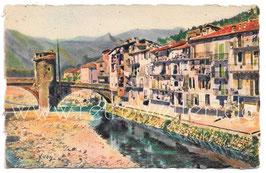 Alte Postkarte SOSPEL - Vielles Maisons sur la Bévéra, Frankreich 1928
