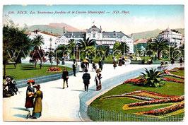 Alte Postkarte NICE NIZZA - Les Nouveaux Jardins et le Casino Municipal