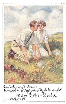 Alte Künstler Postkarte LOST? ...verliebte Golfspieler suchen einen Ball, signiert Clarence F. Underwood