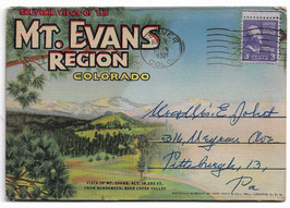 Altes Postkarten Leporello SOUVENIR VIEWS OF THE MOUNT EVANS REGION - COLORADO, USA 1952