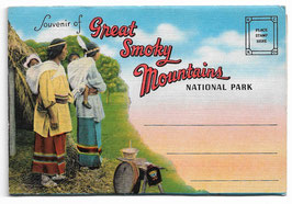 Altes Postkarten Leporello SOUVENIR OF GREAT SMOKY MOUNTAINS NATIONAL PARK - TENNESSEE,  USA  1930er Jahre