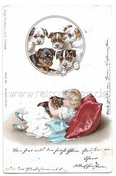 Alte Künstler Postkarte KLEINES MÄDCHEN MIT HUNDEWELPEN, 1899
