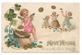 """Alte Lithografie Postkarte """"PROSIT NEUJAHR"""" Engel, Münzen, Geldsack, Glücksklee"""