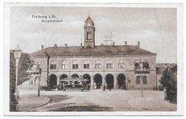 Alte Foto Postkarte FREIBURG IM BREISGAU Hauptbahnhof mit Straßenbahn, um 1900