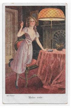 Alte Künstler Postkarte  JUNGE FRAU RAUCHT IHRE 1.  ZIGARETTE, signiert Bill Fisher