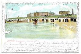 Alte Postkarte BORKUM Strandansicht von der See aus - 1901