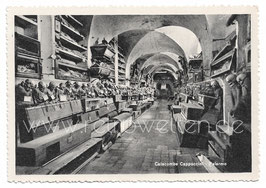 Alte Foto Postkarte Palermo Catacombe Cappuccini - Männer-Korridor - 1950er Jahre