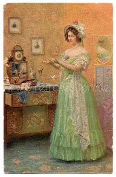 Alte Künstler Postkarte  VOR DER PROMENADE signiert C. Schuster - um 1900