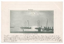 Alte Foto Postkarte BORKUM - SOMMERABEND AN DER NORDSEE Segelboote in der Abenddämmerung