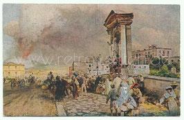 Alte Künstler Postkarte NEAPEL NAPOLI  Ausbruch des Vesuvs, signiert O. Achenbach - 1921