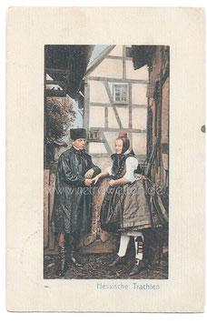 Alte Fotografie Postkarte PAAR IN HESSISCHER TRACHT