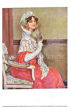 """Alte Künstler Postkarte """" ERWARTUNG """" Spanierin mit Spitzenschleier und Fächer, signiert Ignacio Zuloaga"""